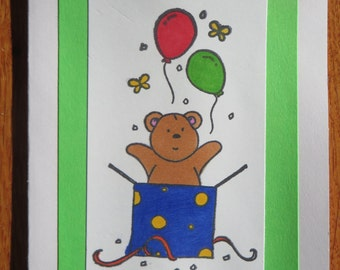"Teddy Bear Surprise ""Happy Birthday"" card"