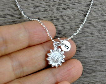 Bridesmaid Necklace, Personalized A-Z initial Necklace, Sunflower Necklace, Sterling silver sunflower charm necklace