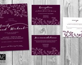 Floral Wedding Invitation Design Suite - Customized - printed on 100 lb premium paper / white envelopes included