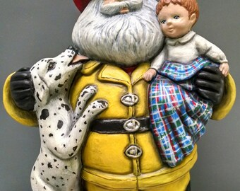 SALE!!!   Fireman Santa -- Heirloom-quality handpainted ceramic Santa -- Christmas mantel decor