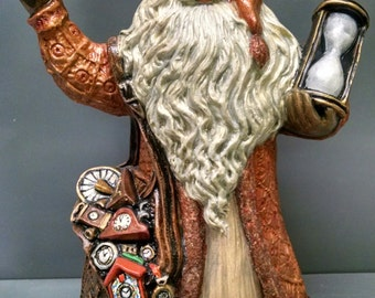 SALE!!!Father Time Santa -- Heirloom-quality handpainted ceramic Santa -- Christmas mantel decor