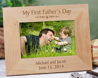 my first fathers day engraved wood frame