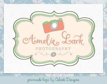 Premade Logo - camera doodle logo | peach and green