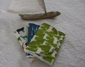 Boutique Burp Cloth Sets- organic fabrics/ Birch Fabrics