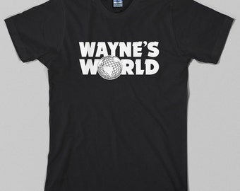 Wayne's World T Shirt  - waynes, logo, snl, movie, wayne stock, garth, 90s - Graphic tee, All Sizes & Colors