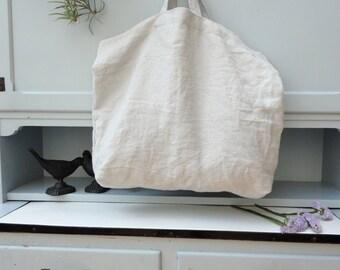 ELLIE: linen shopper bag with short handles