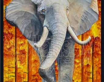 ORIGINAL ART ELEPHANT, Original Painting, African Animal Painting, Endangered Animal Art, Wildlife Painting, Photo Realistic Painting