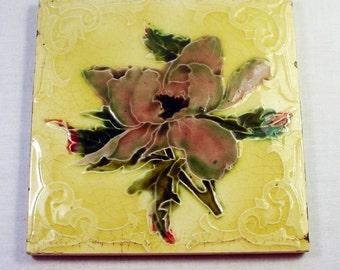 Antique Ceramic Tile, English Tile, Iris Flower, LT England, Art Nouveau Tile, Home Decor, Home Renovation, Art Tile, Decorative Tile