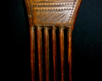 Baule Hair Comb Traditional Tribal Decorative Wearable Wood Designs Both Sides African