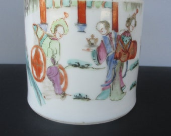 Chinese Famille Rose Brush Pot With Figures Qing Dynasty 19th c