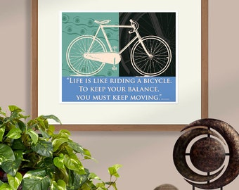 Bicycle Print, Vintage Bike Art, Purple and Green, Life is Like Riding a Bicycle Inspirational Quote Print