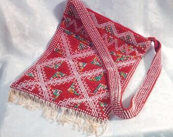 Vintage Boho Shoulder Bag, Red and White Beads with Fringe, Mod Purse, Retro Handbag, Mid Century, Circa 1960s