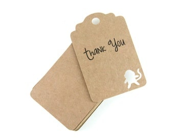 Monkey Thank You Tags, Jungle Party Tags, Brown Party Favors, Monkey Favors, Children's Party, Jungle Themed Thank You, Monkey Favor Tags