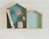 Turquoise Duo House Shaped Shelves, Two Wooden House Shelves, A Large Size and a Small Size House Shelves, Kids Shelves
