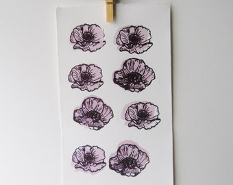 Floral screenprint | 8 grid lavender poppies