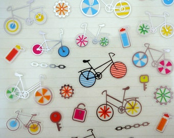 Korean bicycle stickers - shiny silver bike riding stickers - cycling - exercise - gears - chains - water bottle - road biking - kawaii
