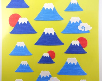 Japanese Mt. Fuji chiyogami paper stickers - beautiful traditional Japan yuzen paper - kawaii mountain and cloud stickers - Mount Fuji