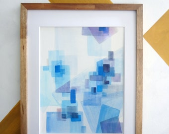Blue Abstract Watercolor Giclee Print | 11 x 14 | Geometric Art, Squares, Watercolor Painting, Abstract Art,