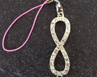 Bling Diamante Infinity Symbol Bag/Purse Charm, Valentine's Day, Gift for Her