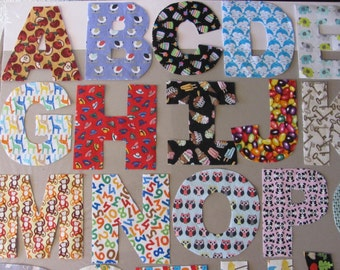 Fabric letters a-z hand cut fabric alphabet letters educational learning great for your sewing quilting rag letter DIY craft project