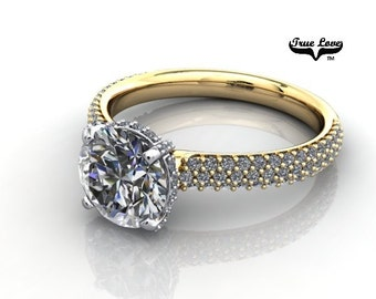 Moissanite Engagement Ring 14kt Yellow Gold, Forever One, Wedding Ring, Pave Set Side Diamonds #7079