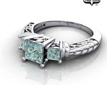 14 kt. White Gold  Three Stone .38 Carat and Two .12  Teal Blue Diamond Engagement Ring. #6713