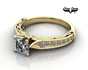 14 kt. Yellow Gold  Solitaire .71 Carat Princess Brilliant Cut Moissanite with side And Accent Diamonds Engagement Ring #6788