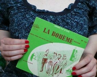 Vintage Royale Red Vinyl 45 Record - La Boheme Puccini - Berlin Opera Orchestra Choir