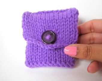 Purple Tea Tote - Reusable Tea Pouch - Tea Bag Organizer - Tea Accessory - Handmade Tea Bag Holder - Tea Bag Wallet - Purple Coin Purse