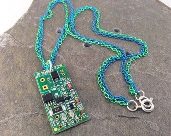 Reclaimed Circuit Board Pendant with Tiny Components on Double Green & Aqua Blue 18 Inch Chain, Upcycled Computer Parts, Geekery Gift