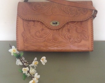 LEATHER PURSE HANDTOOLED boho hippie chic, retro leather purse, real leather