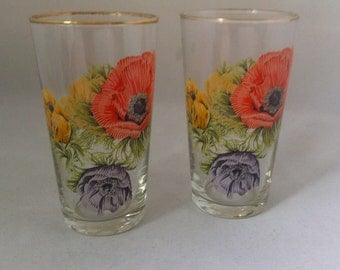 Pair drinking glasses.  Chance Anemone by Michael Harris 1965