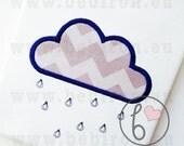 Rain Cloud Applique Design Machine Embroidery Pattern Instant Download