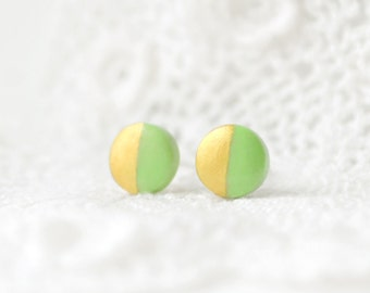Mint gold Stud earrings mint studs, mint earrings, round mint studs mint posts, minimalist gold dipped studs polymer clay gold studs button
