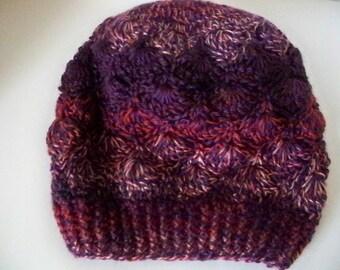 Purple Winter Hat,Womens Teens Slouchy Beanie, Slouchy Hat, Slouchy Beanie, Red Pink Hat