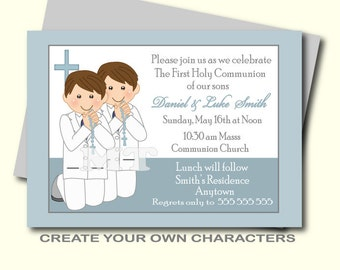 Personalized 1st Communion Invitation For Twins Boy And Girl