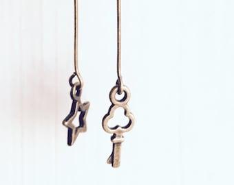 Little Charms Star and Key Asymmetric Earrings