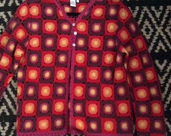 Vintage Boho Sunburst Crochet Cardigan Sweater Set