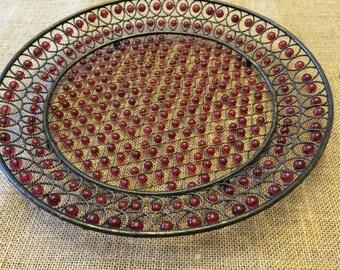 DECORATIVE WIRE PLATE,Table Plate,Garden Plate,Outdoor Plate,Metal Sculpture,Kitchen Brass Plate,Beads,Large Plate,Hand-made Plate,Folk Art