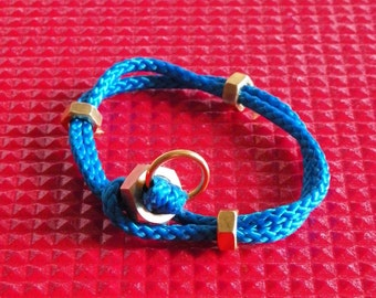 GOLD ONE | Bracelet  blue braided cord with gilt brass nuts | New Summer Collection  2016