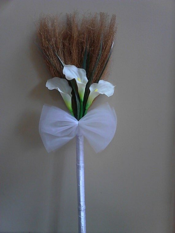 on sale calla lily wedding broom jumping broom
