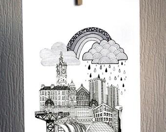 Glasgow in the Rain - A4 Unframed Inkjet Print