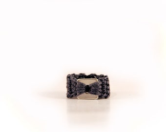 square ring - geometric jewelry - fiber ring - crochet jewelry - crochet rings - crochet jewellery - fiber jewelry - stainless steel