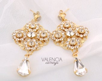 Gold wedding earrings, chandelier bridal earrings, statement gold wedding earrings, Swarovski crystal: Valencia earrings