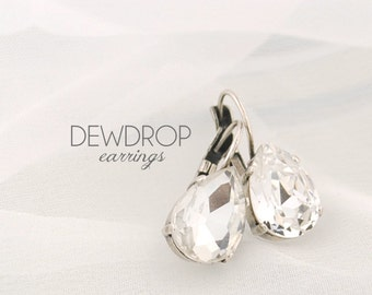 Simple wedding earrings - bridesmaids earrings - bridal earrings - crystal earrings - pear drop earrings - Dewdrop earrings