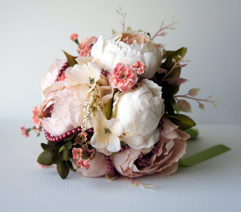 Blush Wedding Flowers: Blush Peony Bridal Bouquet Silk Wedding Flowers Vintage