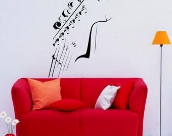 Guitar Neck Wall Decal Wall Vinyl Sticker Musical Instrument Home Interior Removable Bedroom Decor (7gtr)
