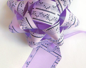 Music Sheet Bows & Tags - DIY, Instant Download, Gift Wrap, Digital Print, Cut Out Craft, Craft Kit