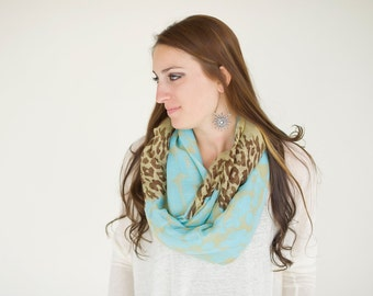 Animal Print Infinity Scarf, Blue and Brown Scarf, Cheeta Print Scarf, Leopard Print, Infinity Scarf, lightweight, Summer Scarves
