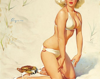 "Vintage Pinup Art Girl // Beach Blonde Pin Up ""Surprise in the Sand"" by Gil Elvgren// 33""x41"" Digital Download // Easy to Size Down"